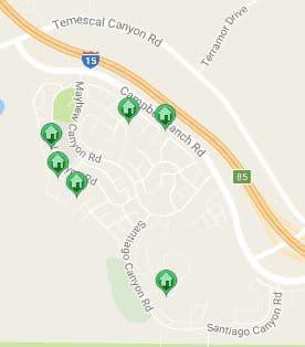 Map of Sycamore Creek Homes - Corona California