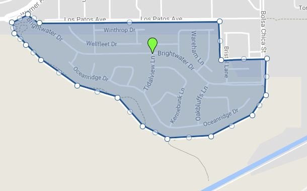 Ariel Map of Brightwater Huntington Beach