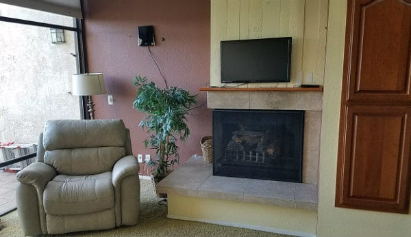 Fireplace Area inside Marina Pacifica Condos