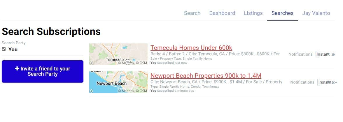 Your Listings and Saved Searches