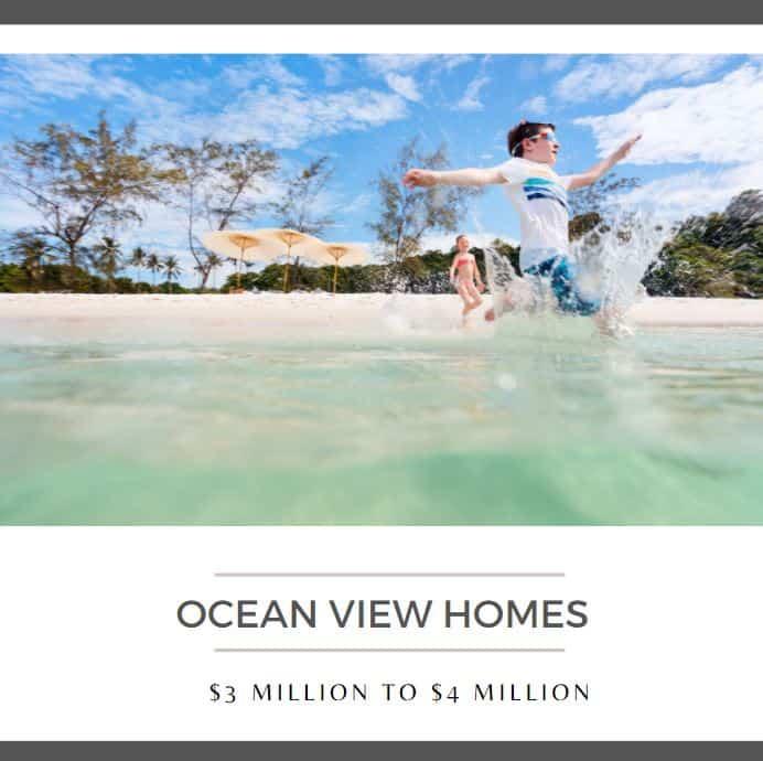 Ocean View Homes 3 million to 4 million California